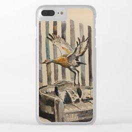Flight of the sandhill crane Clear iPhone Case