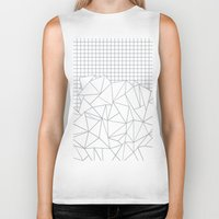 grid Biker Tanks featuring Abstract Outline Grid Grey by Project M