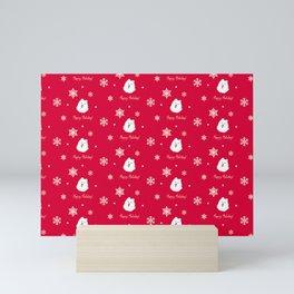Cute Samoyed Dog Holiday Pattern (red) Mini Art Print