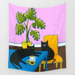 Drip Coffee Cats Wall Tapestry