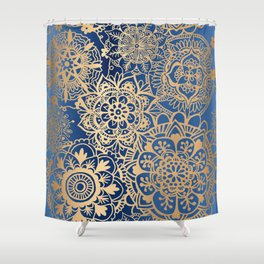 Blue and Gold Mandala Pattern Shower Curtain