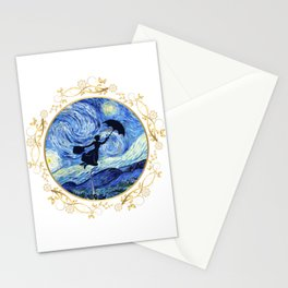 Mary Poppins Starry Night - Golden Floral Frame Stationery Cards