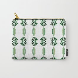 CHARLIE - Pearl and Maude | Emerald Green and White Floral Stripe Carry-All Pouch