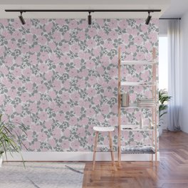 Hibiscus and Plumeria Pink-Gray Wall Mural