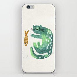 Green cat with fish iPhone Skin