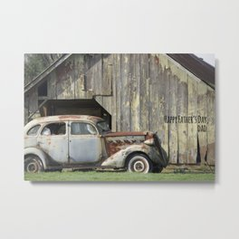 Happy Father's Day Dad Vintage Automobile and Weathered Barn Metal Print