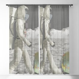Moon Shot #collage Sheer Curtain