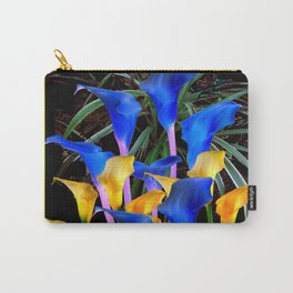 BLUE-BLACK MODERN ABSTRACT BLUE & GOLD CALLA LILIES Carry-All Pouch