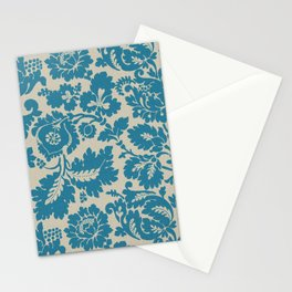Retro Leaves on a Blue  Background Pattern cutest Stationery Cards