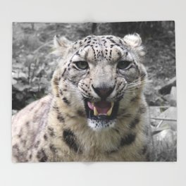 Angry snow leopard Throw Blanket