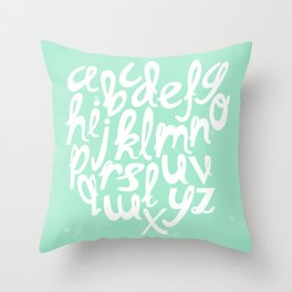 MINT ALPHABET Throw Pillow