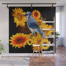 DECORATIVE BLUE JAY YELLOW SUNFLOWERS BLACK ART Wall Mural