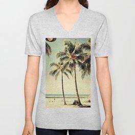 Retro Vintage Palm Tree with Hawaii Summer Sea Beach Unisex V-Neck