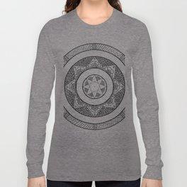 Flower Star Mandala - White Black Long Sleeve T-shirt