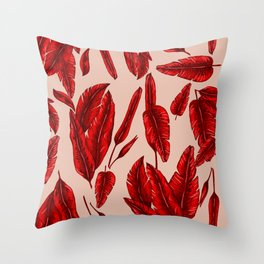 Red Banana Leafs Throw Pillow