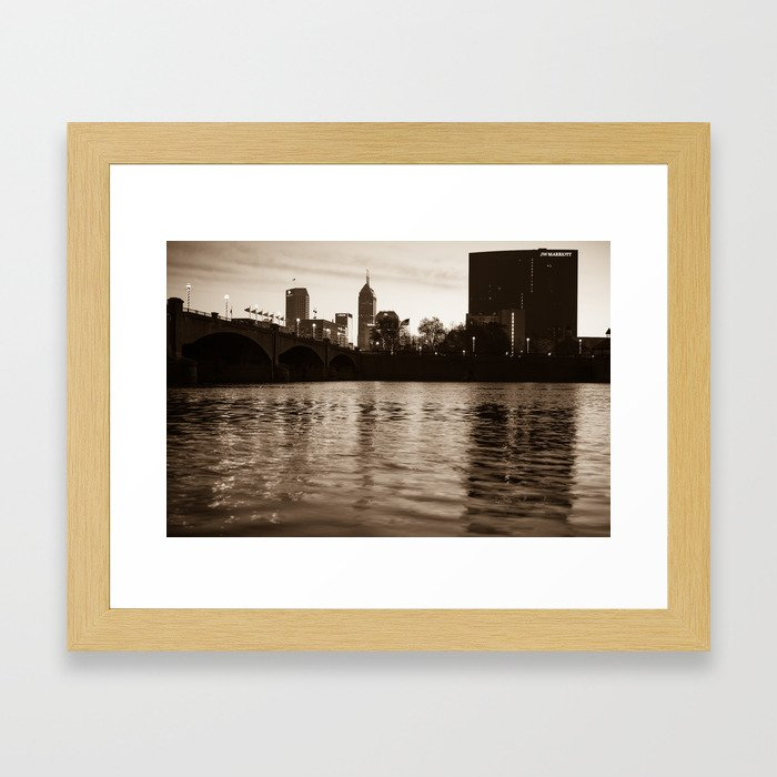 Indianapolis on the Water - Sepia Skyline Framed Art Print
