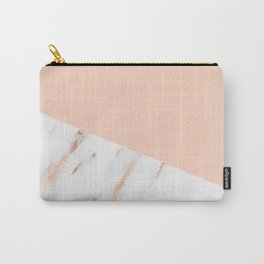 Pink Quartz and White Marble Rose Gold Carry-All Pouch