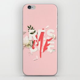 RESCUE ME   Digital typography floral poster pink iPhone Skin