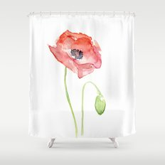 Red Poppy Watercolor Flower Floral Abstract Shower Curtain