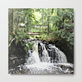 Bridge Over Waterfall Metal Print