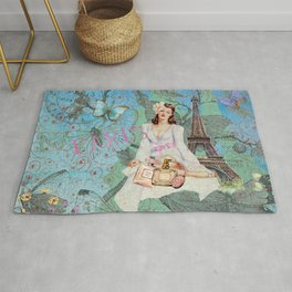 Paris - mon amour - Fashion Girl In France Eiffel tower Nostalgy - French Vintage Rug