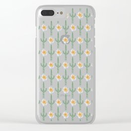 Saguaro Floral Pattern Clear iPhone Case