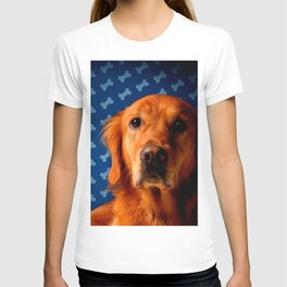Golden Retriever blue bone background T-shirt