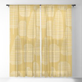 Mid Century Modern Forest Yellow Sheer Curtain