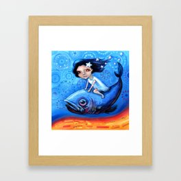 Fishing Girls Framed Art Print