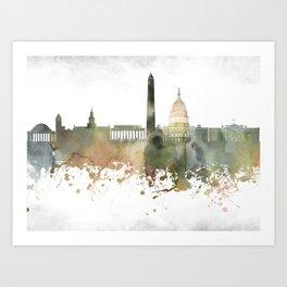 Washington, D.C.  Greenish Skyline Art Print