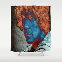 caleb troy Shower Curtains featuring Troy by Robin Curtiss