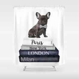 Frenchie, french, bulldog, Black, Fashion books, Fashion illustration, Fashion, wall art Shower Curtain