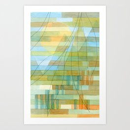 Olive trees by the city -watercolor and pencil city illustration Art Print