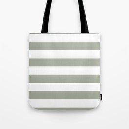 Large Desert Sage Grey Green and White Cabana Stripes Tote Bag