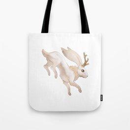 White Jackalope Tote Bag