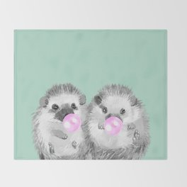 Playful Twins Hedgehog Throw Blanket