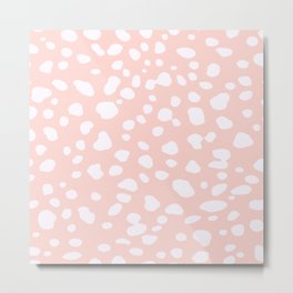 Pink Coral Spotty Dots Metal Print