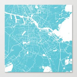 Amsterdam Turquoise on White Street Map Canvas Print