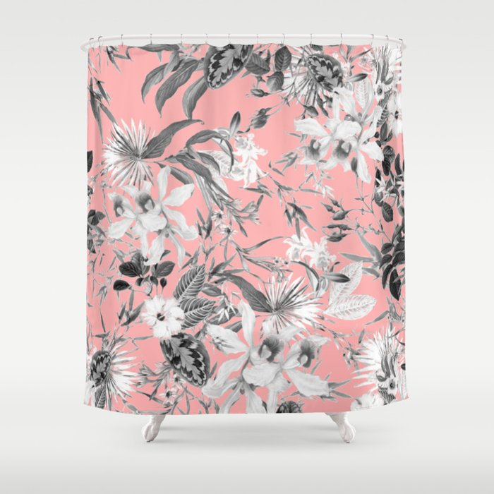 Black And White Floral On Light Pink Shower Curtain
