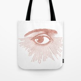 I see you. Rose Gold Pink Quartz on White Tote Bag