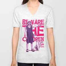 Beware the children...and the cats Unisex V-Neck