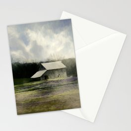 Barn in the mist Stationery Cards