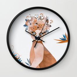 Lemur with a crown of flowers in a blue and bronzed jungle Wall Clock