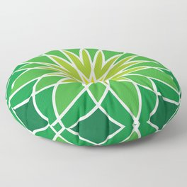 Shades of Green | Abstract Flowers | Geometric Pattern | Green and White | Floor Pillow