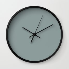 Dark Muted Pastel Blue Gray Solid Color Parable to Valspar Cafe Blue 5001-4A Wall Clock
