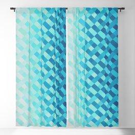Aqua Blue Light Abstract Grid Pattern Design Blackout Curtain