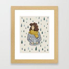 Rainy Day Girl Framed Art Print