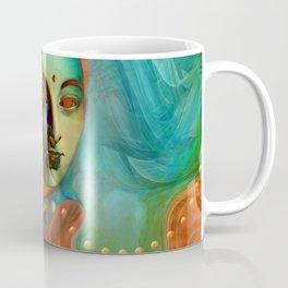 """Exotic woman in green and orange tropical jungle"" Coffee Mug"