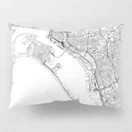 San Diego White Map Pillow Sham