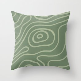 Topographic Map / Grayish Green Throw Pillow